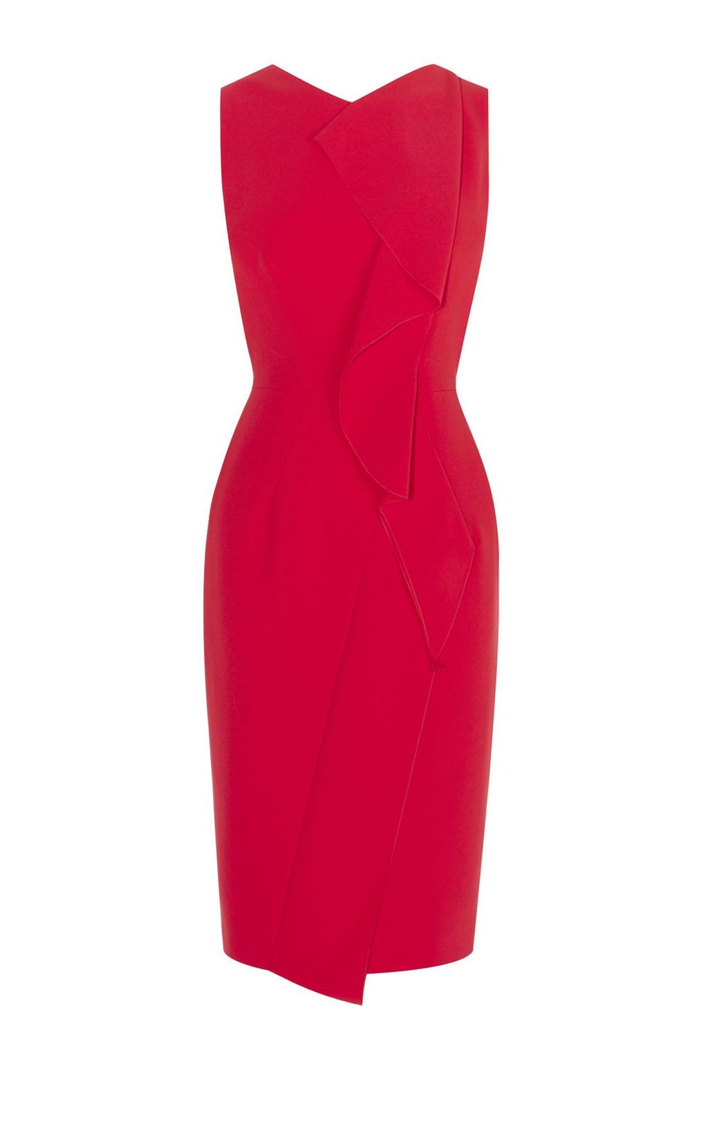 Subtle Ruffle Dress, Red - style: shift; neckline: v-neck; fit: tailored/fitted; pattern: plain; sleeve style: sleeveless; predominant colour: true red; occasions: evening; length: on the knee; fibres: polyester/polyamide - mix; sleeve length: sleeveless; pattern type: fabric; texture group: other - light to midweight; season: s/s 2016; wardrobe: event