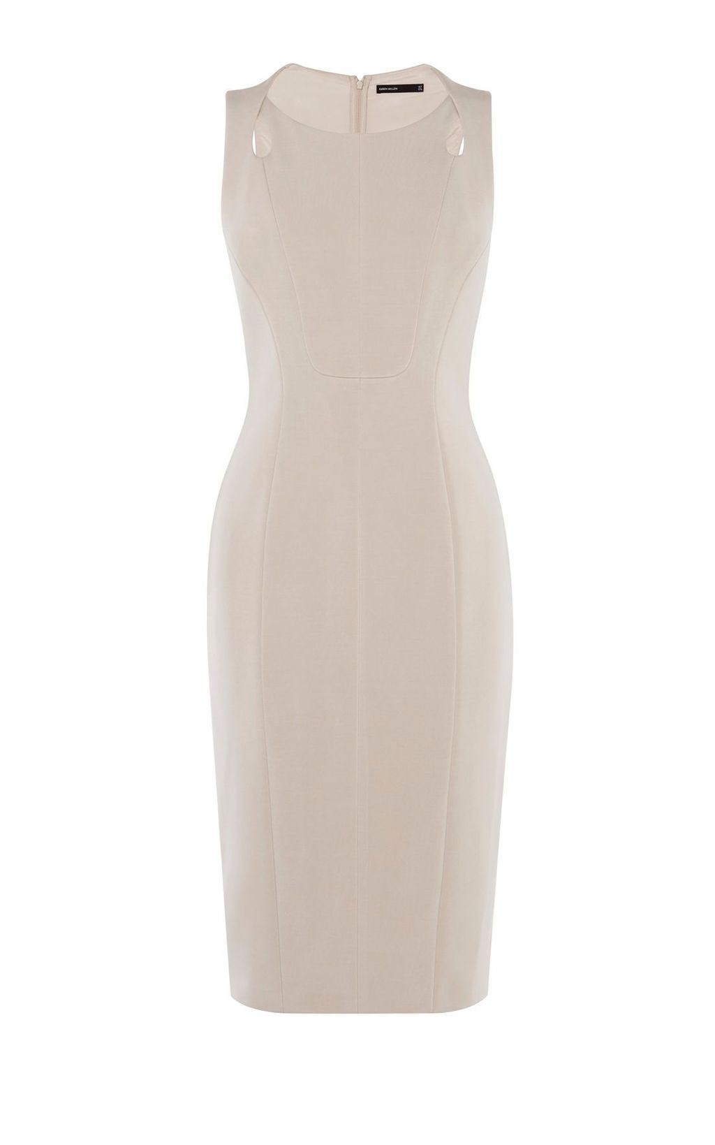 Sinuous Curves Dress, Neutral - fit: tight; pattern: plain; sleeve style: sleeveless; style: bodycon; predominant colour: ivory/cream; occasions: evening; length: just above the knee; fibres: polyester/polyamide - stretch; neckline: crew; sleeve length: sleeveless; texture group: jersey - clingy; pattern type: fabric; season: s/s 2016; wardrobe: event