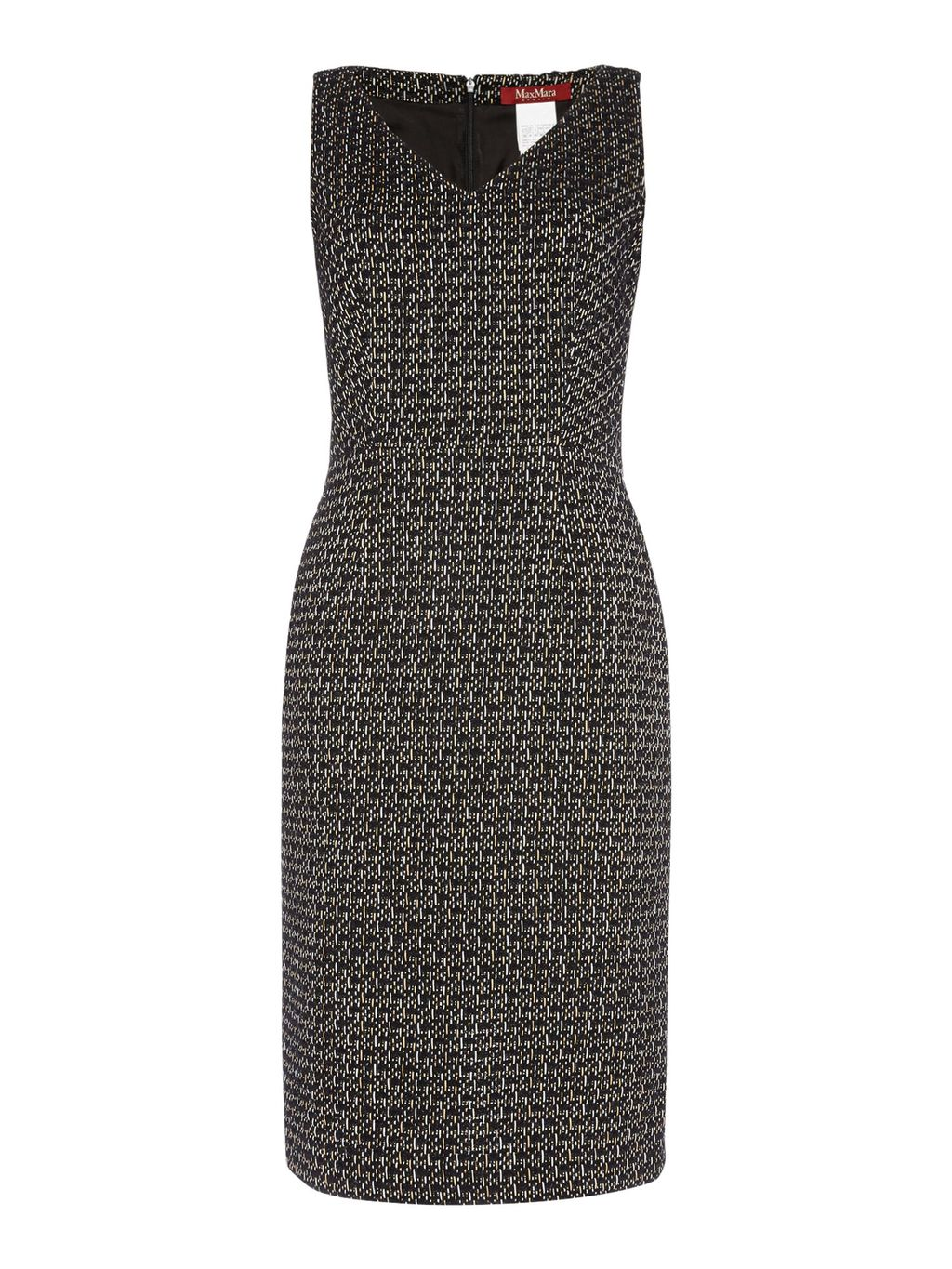 Eritea Sleeveless Boucle V Neck Dress, Black - style: shift; neckline: v-neck; fit: tailored/fitted; sleeve style: sleeveless; predominant colour: charcoal; occasions: evening; length: just above the knee; fibres: cotton - mix; sleeve length: sleeveless; pattern type: fabric; pattern: patterned/print; texture group: other - light to midweight; season: s/s 2016; wardrobe: event