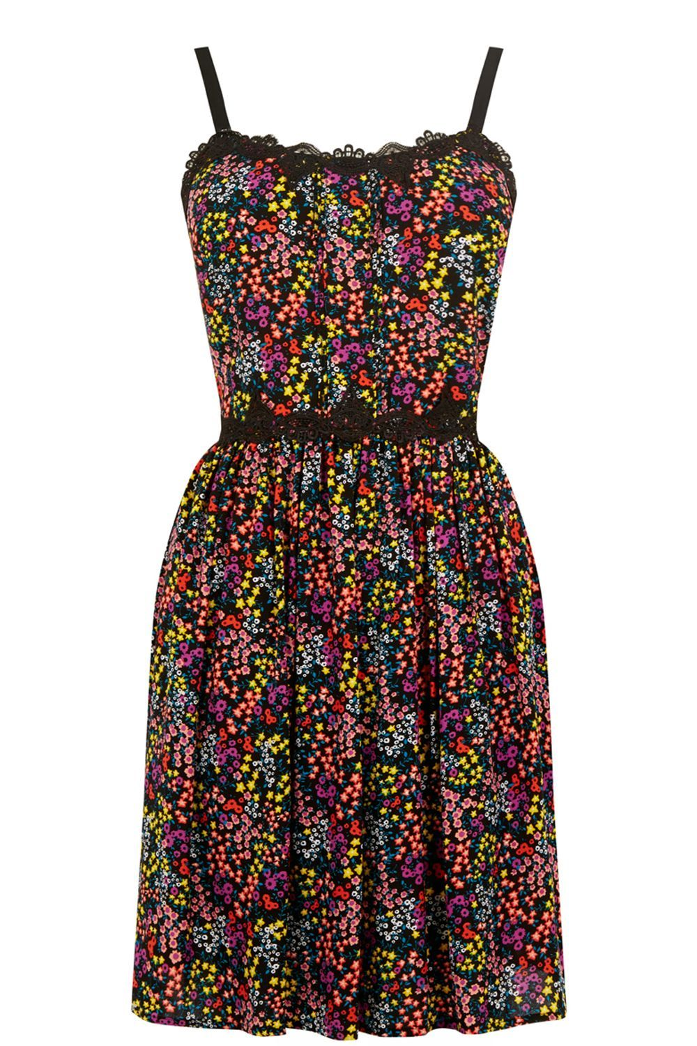 Ditsy Lace Sun Dress, Multi Coloured - neckline: round neck; sleeve style: sleeveless; secondary colour: pink; predominant colour: black; occasions: evening; length: just above the knee; fit: fitted at waist & bust; style: fit & flare; fibres: polyester/polyamide - 100%; sleeve length: sleeveless; pattern type: fabric; pattern: patterned/print; texture group: jersey - stretchy/drapey; embellishment: lace; multicoloured: multicoloured; season: s/s 2016; wardrobe: event