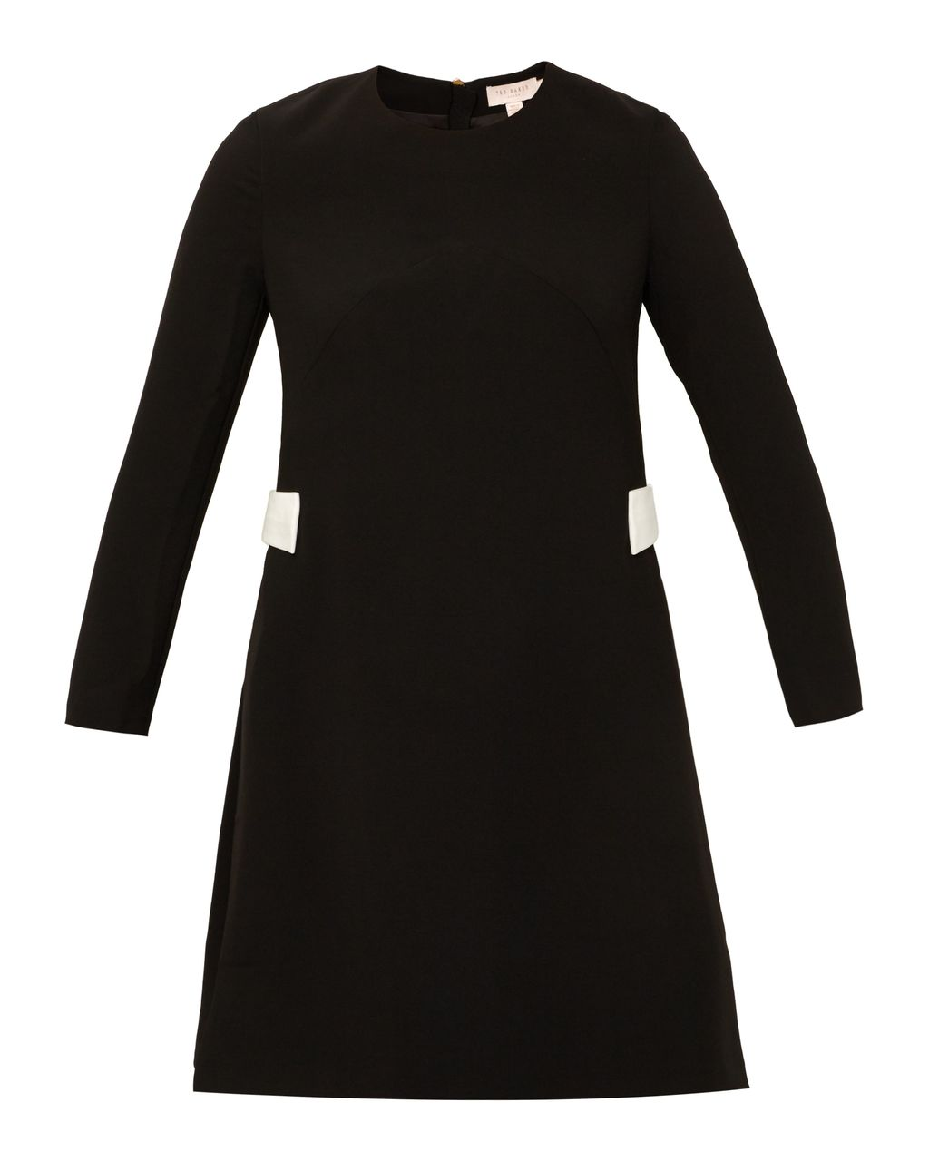Emorly Side Bow Dress, Black - pattern: plain; predominant colour: black; occasions: evening; length: on the knee; fit: fitted at waist & bust; style: fit & flare; fibres: polyester/polyamide - stretch; neckline: crew; sleeve length: long sleeve; sleeve style: standard; pattern type: fabric; texture group: other - light to midweight; season: s/s 2016; wardrobe: event