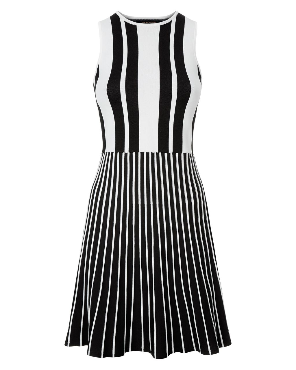 Striped Compact Knitted Dress, Black - pattern: vertical stripes; sleeve style: sleeveless; predominant colour: white; secondary colour: black; occasions: evening; length: just above the knee; fit: fitted at waist & bust; style: fit & flare; fibres: viscose/rayon - stretch; neckline: crew; sleeve length: sleeveless; pattern type: fabric; texture group: jersey - stretchy/drapey; multicoloured: multicoloured; season: s/s 2016