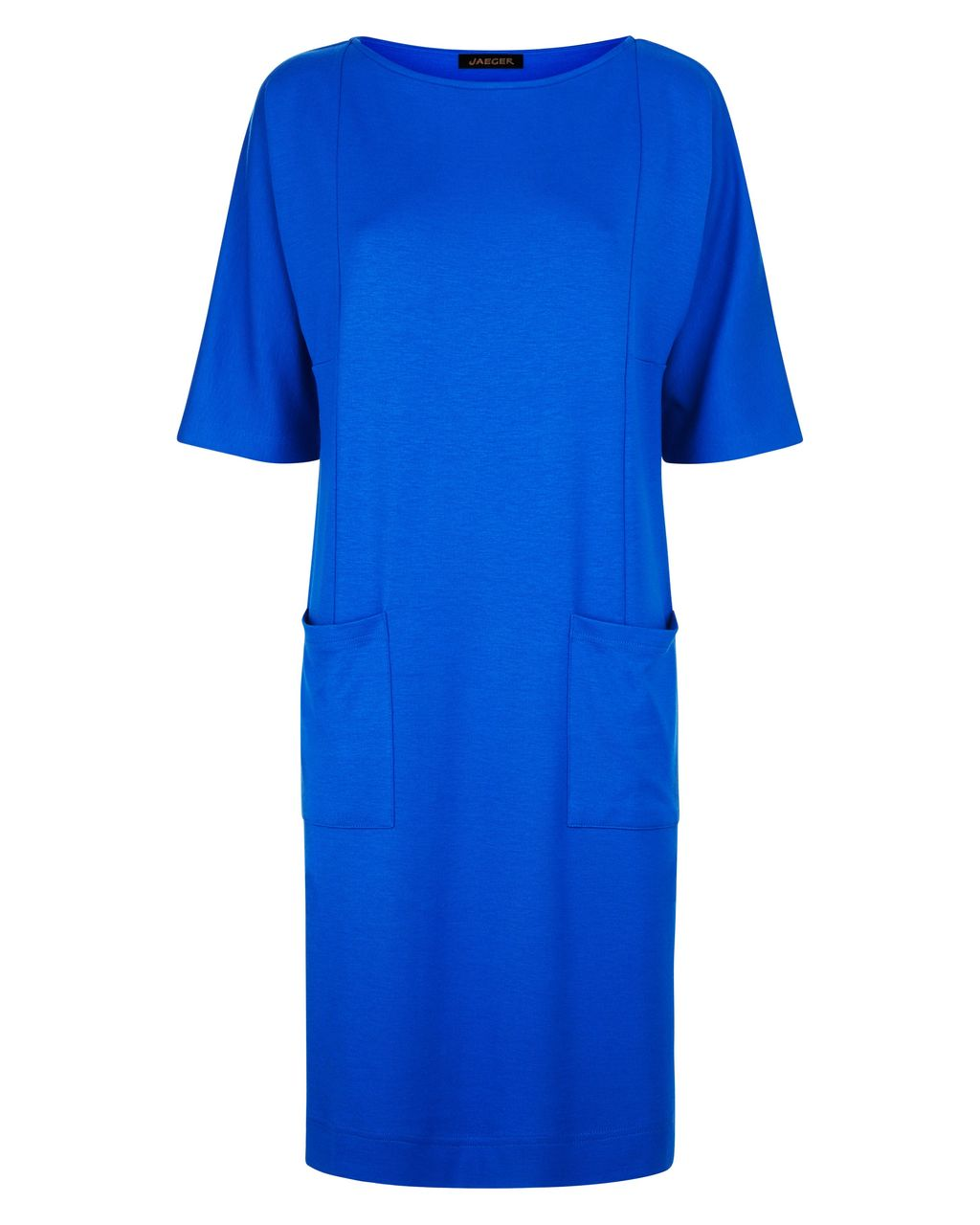Jersey Seam Detail Dress, Blue - style: shift; pattern: plain; predominant colour: royal blue; occasions: evening; length: on the knee; fit: body skimming; fibres: viscose/rayon - stretch; neckline: crew; sleeve length: short sleeve; sleeve style: standard; pattern type: fabric; texture group: jersey - stretchy/drapey; season: s/s 2016; wardrobe: event