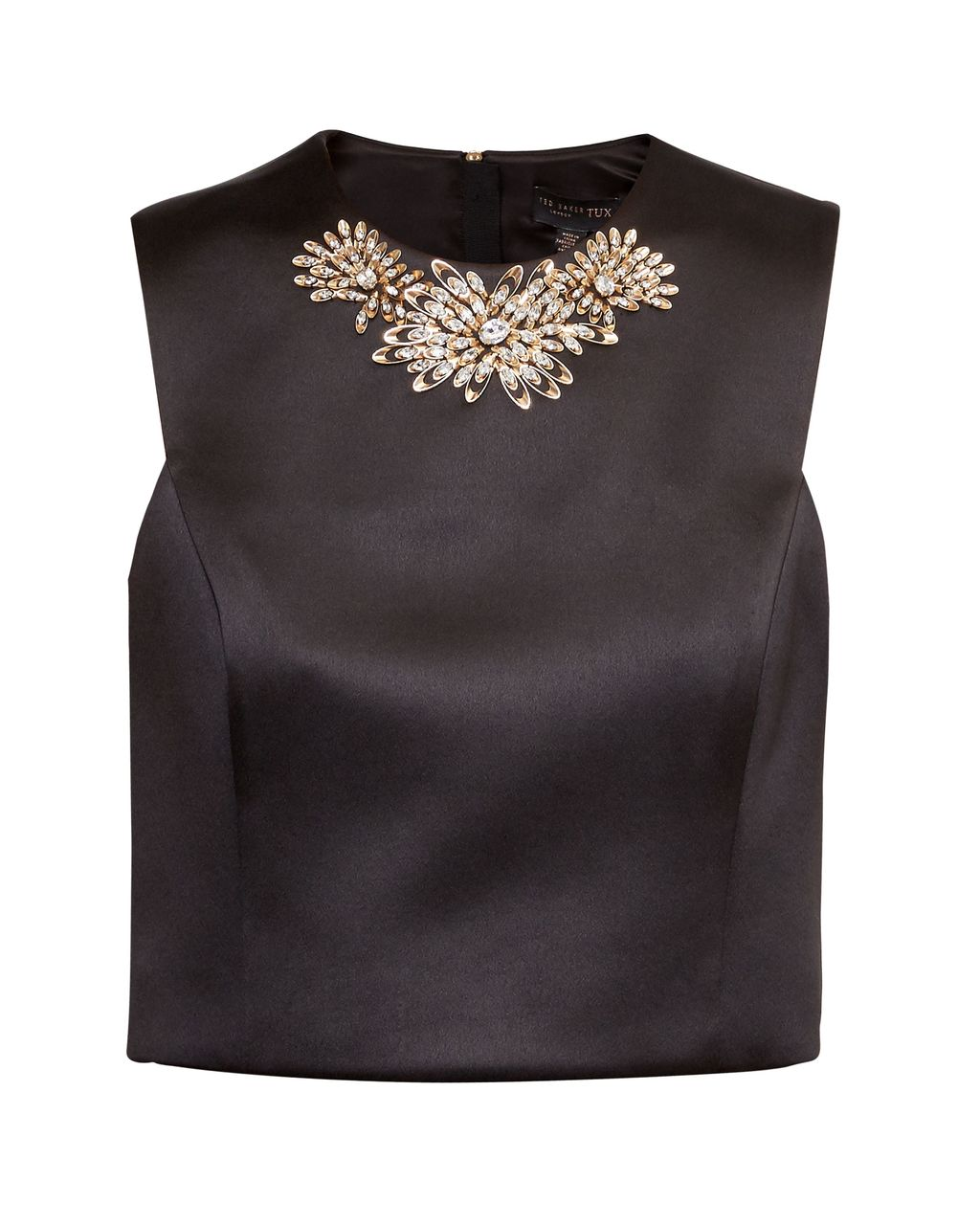 Jaby Embellished Cropped Top, Black - pattern: plain; sleeve style: sleeveless; length: cropped; predominant colour: black; occasions: evening; style: top; fibres: polyester/polyamide - 100%; fit: body skimming; neckline: crew; sleeve length: sleeveless; texture group: structured shiny - satin/tafetta/silk etc.; pattern type: fabric; embellishment: crystals/glass; season: s/s 2016; wardrobe: event; embellishment location: bust