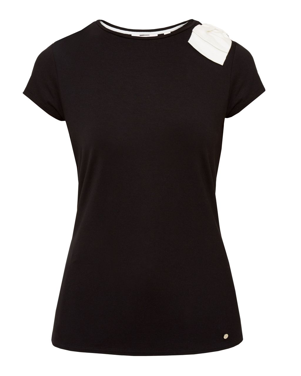 Tuline Oversized Bow T Shirt, Black - pattern: plain; style: t-shirt; secondary colour: white; predominant colour: black; occasions: casual; length: standard; fibres: viscose/rayon - stretch; fit: body skimming; neckline: crew; sleeve length: short sleeve; sleeve style: standard; pattern type: fabric; texture group: jersey - stretchy/drapey; embellishment: bow; multicoloured: multicoloured; season: s/s 2016; wardrobe: highlight