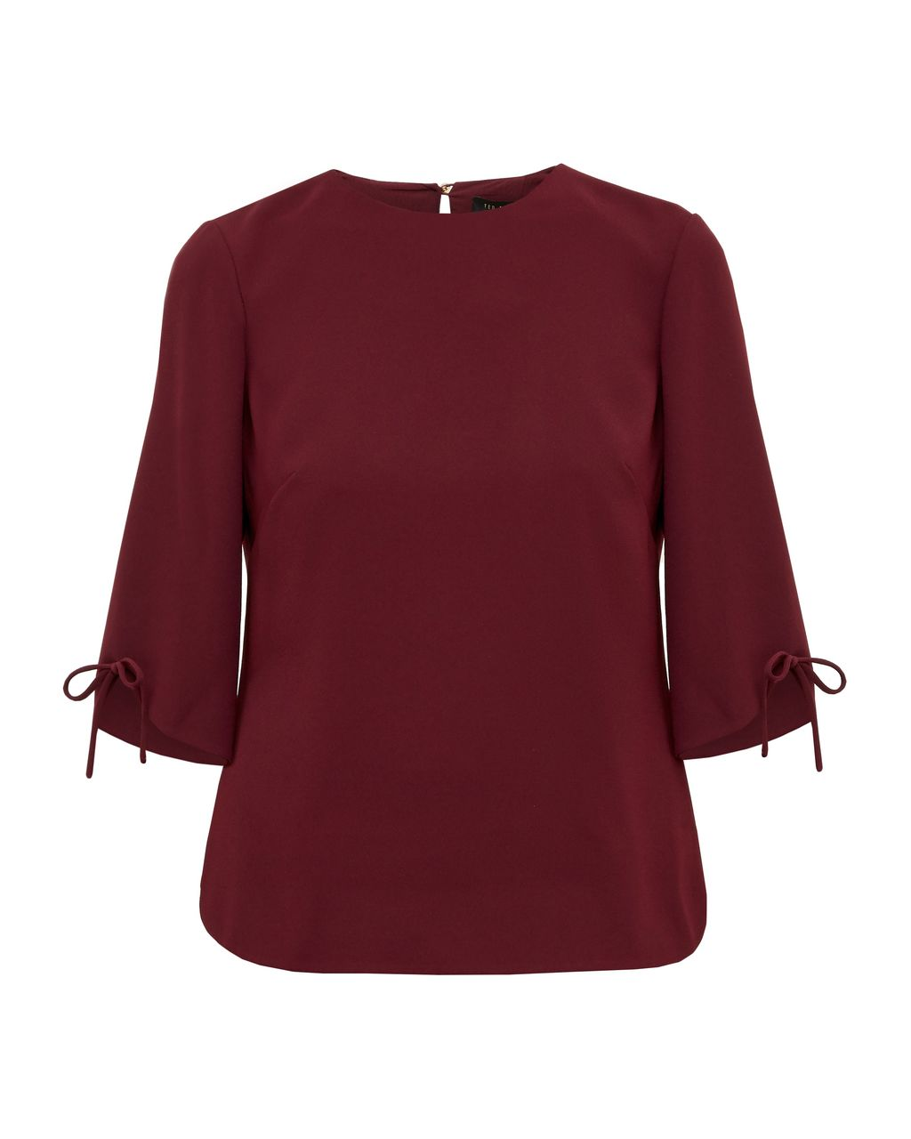 Hattsy Bow Detailed Top, Red - pattern: plain; predominant colour: burgundy; occasions: casual; length: standard; style: top; fibres: polyester/polyamide - 100%; fit: body skimming; neckline: crew; sleeve length: 3/4 length; sleeve style: standard; pattern type: fabric; texture group: other - light to midweight; season: s/s 2016; wardrobe: highlight