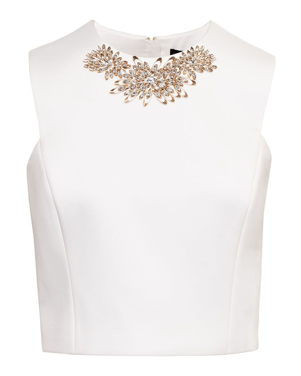 Jaby Embellished Cropped Top, White - pattern: plain; sleeve style: sleeveless; bust detail: added detail/embellishment at bust; length: cropped; predominant colour: white; occasions: evening; style: top; fibres: polyester/polyamide - 100%; fit: body skimming; neckline: crew; sleeve length: sleeveless; texture group: ornate wovens; pattern type: fabric; embellishment: jewels/stone; season: s/s 2016