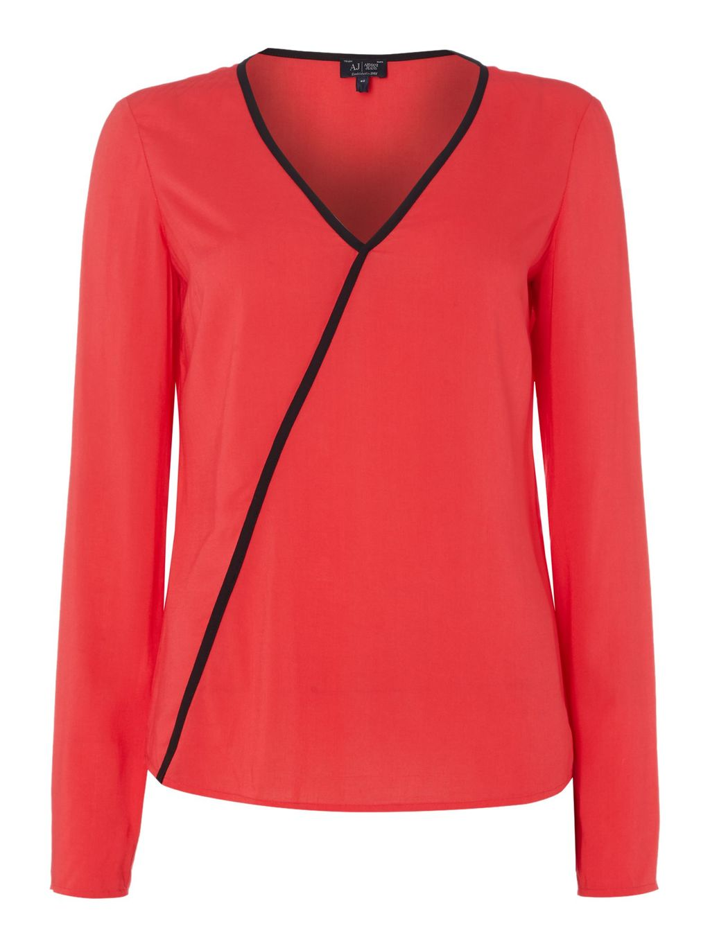 Long Sleeve V Neck Top With Contrast Piping, Red - neckline: v-neck; pattern: plain; predominant colour: true red; occasions: casual; length: standard; style: top; fibres: viscose/rayon - 100%; fit: body skimming; sleeve length: long sleeve; sleeve style: standard; pattern type: fabric; texture group: other - light to midweight; season: s/s 2016