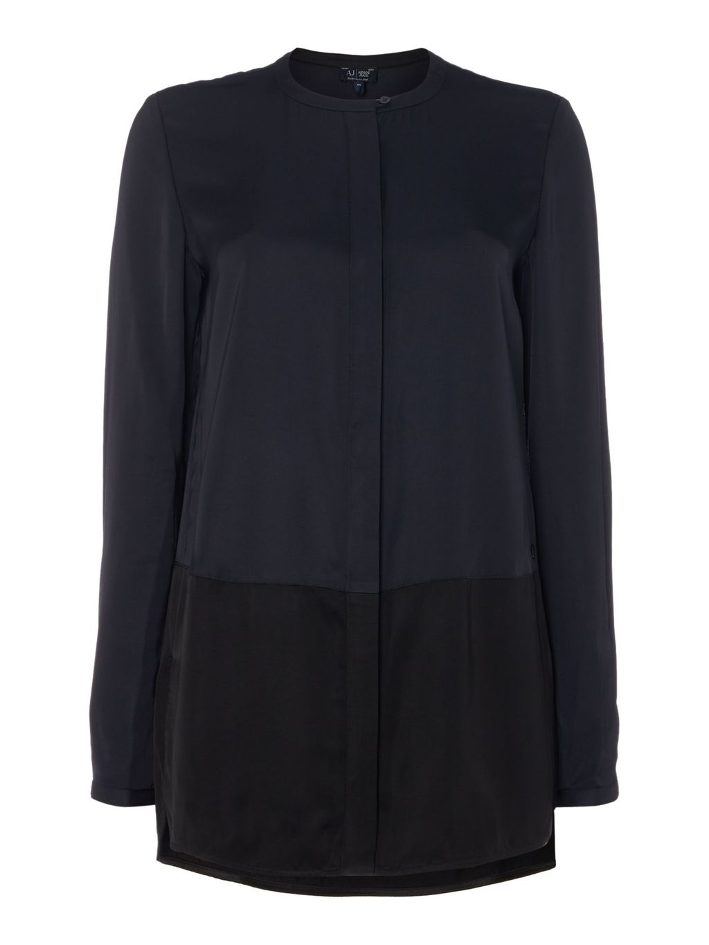 Button Up Collarless Blouse, Navy - pattern: plain; length: below the bottom; style: blouse; predominant colour: navy; secondary colour: black; occasions: casual; neckline: collarstand; fibres: viscose/rayon - 100%; fit: body skimming; sleeve length: long sleeve; sleeve style: standard; pattern type: fabric; texture group: other - light to midweight; multicoloured: multicoloured; season: s/s 2016; wardrobe: basic