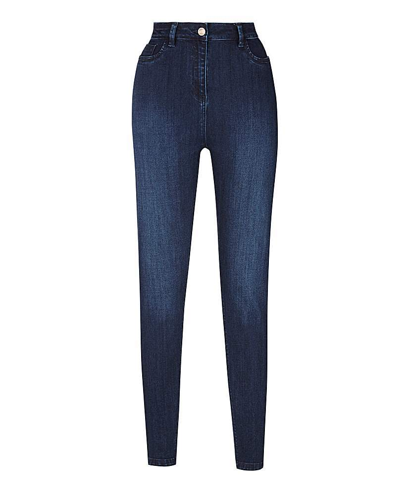 Sophia Supersoft Fly Front Jeggings Long - length: standard; pattern: plain; waist: high rise; style: jeggings; predominant colour: navy; occasions: casual; fibres: cotton - stretch; jeans detail: shading down centre of thigh; texture group: denim; pattern type: fabric; season: s/s 2016; wardrobe: basic