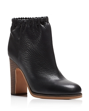 Jane Scalloped Block Heel Booties - predominant colour: black; occasions: casual, creative work; material: leather; heel: block; toe: round toe; boot length: ankle boot; style: standard; finish: plain; pattern: plain; heel height: very high; season: s/s 2016; wardrobe: highlight