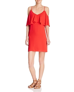 Cold Shoulder Dress - length: mid thigh; neckline: low v-neck; pattern: plain; style: sundress; bust detail: subtle bust detail; predominant colour: bright orange; occasions: casual; fit: body skimming; fibres: polyester/polyamide - 100%; shoulder detail: cut out shoulder; sleeve length: half sleeve; sleeve style: standard; pattern type: fabric; texture group: other - light to midweight; season: s/s 2016; wardrobe: highlight