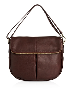 Duffy Zip Shoulder Bag - predominant colour: chocolate brown; occasions: casual, creative work; type of pattern: standard; style: saddle; length: shoulder (tucks under arm); size: standard; material: leather; pattern: plain; finish: plain; season: s/s 2016; wardrobe: basic