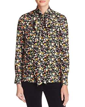 Azra Tie Neck Floral Silk Blouse - neckline: pussy bow; style: blouse; secondary colour: white; predominant colour: black; occasions: evening; length: standard; fibres: silk - 100%; fit: body skimming; sleeve length: long sleeve; sleeve style: standard; texture group: silky - light; pattern type: fabric; pattern size: standard; pattern: florals; multicoloured: multicoloured; season: s/s 2016; wardrobe: event