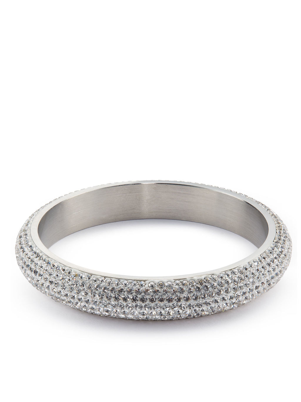 Thick Diamonte Silver Cuff - predominant colour: silver; occasions: evening, occasion; style: bangle/standard; size: large/oversized; material: chain/metal; finish: metallic; embellishment: crystals/glass; season: s/s 2016; wardrobe: event