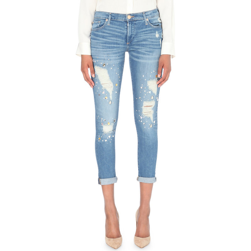 Liv Relaxed Skinny Low Rise Turn Up Jeans, Women's, Bwie Bl Dst - style: skinny leg; pattern: plain; waist: low rise; pocket detail: traditional 5 pocket; predominant colour: denim; occasions: casual; length: calf length; fibres: cotton - stretch; jeans detail: whiskering, shading down centre of thigh, rips; jeans & bottoms detail: turn ups; texture group: denim; pattern type: fabric; season: s/s 2016; wardrobe: basic