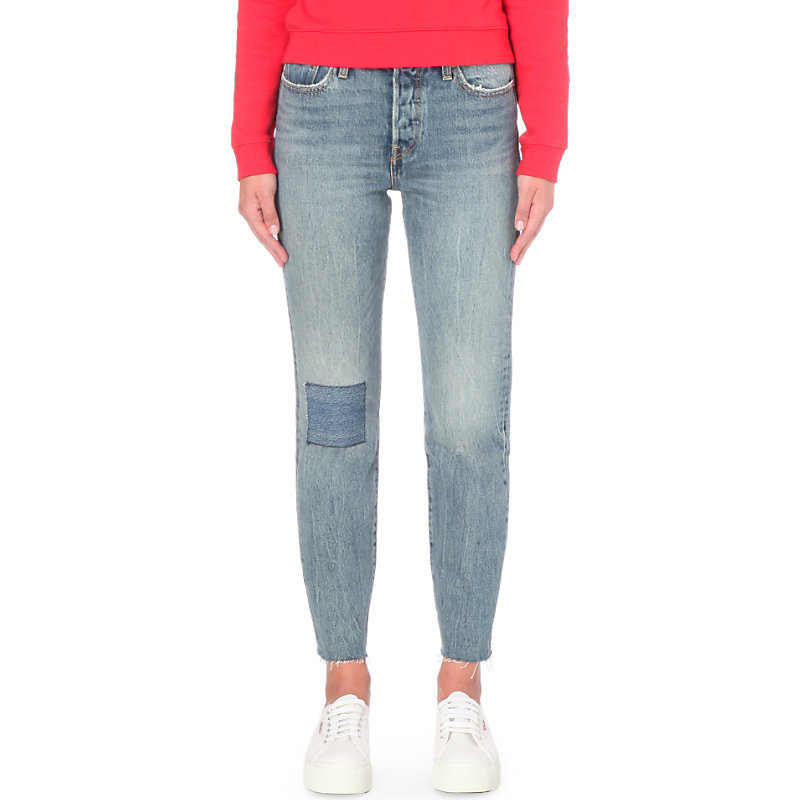 Wedgie Icon Tapered High Rise Jeans, Women's, Joshua Tree - length: standard; pattern: plain; pocket detail: traditional 5 pocket; style: slim leg; waist: mid/regular rise; predominant colour: denim; occasions: casual; fibres: cotton - stretch; jeans detail: whiskering, shading down centre of thigh, washed/faded; texture group: denim; pattern type: fabric; season: s/s 2016; wardrobe: basic