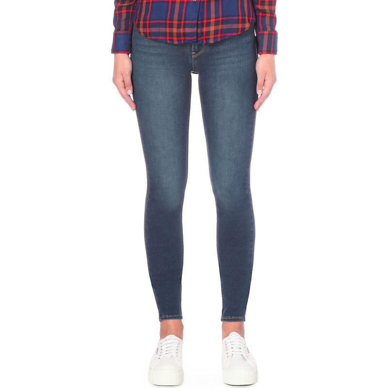 710 Innovation Super Skinny Mid Rise Jeans, Women's, Majestic - style: skinny leg; length: standard; pattern: plain; pocket detail: traditional 5 pocket; waist: mid/regular rise; predominant colour: navy; occasions: casual; fibres: cotton - stretch; jeans detail: shading down centre of thigh; texture group: denim; pattern type: fabric; season: s/s 2016; wardrobe: basic