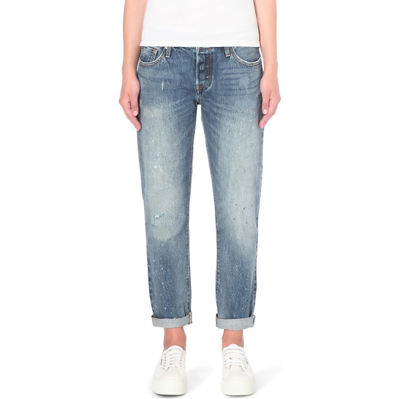 501 Ct Slim Fit Mid Rise Jeans, Women's, Darn & Dusted - style: straight leg; pattern: plain; pocket detail: traditional 5 pocket; waist: mid/regular rise; predominant colour: denim; occasions: casual; length: ankle length; fibres: cotton - stretch; jeans detail: whiskering, shading down centre of thigh; jeans & bottoms detail: turn ups; texture group: denim; pattern type: fabric; season: s/s 2016; wardrobe: basic