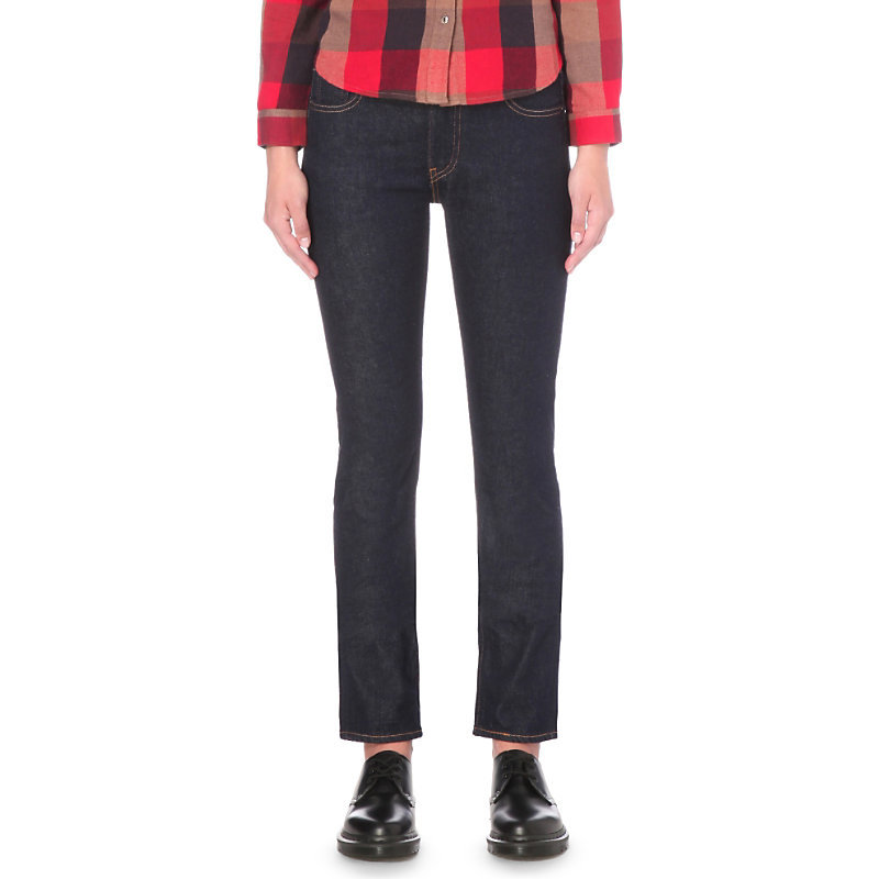 505 C Straight Mid Rise Jeans, Women's, Elvis - style: straight leg; length: standard; pattern: plain; pocket detail: traditional 5 pocket; waist: mid/regular rise; predominant colour: navy; occasions: casual; fibres: cotton - stretch; jeans detail: dark wash; texture group: denim; pattern type: fabric; season: s/s 2016; wardrobe: basic