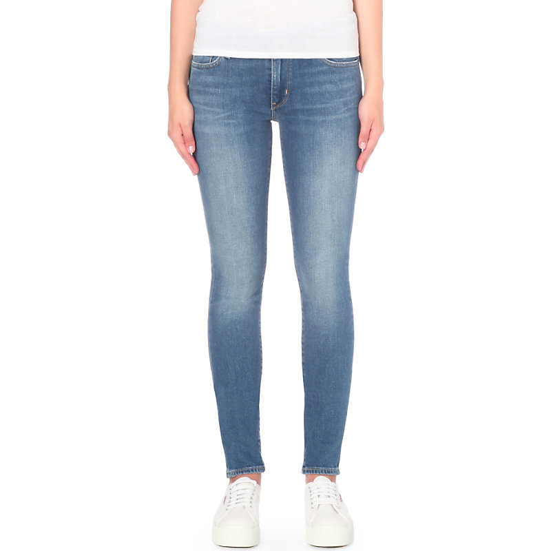 711 Skinny High Rise Jeans, Women's, Pale Night - style: skinny leg; length: standard; pattern: plain; pocket detail: traditional 5 pocket; waist: mid/regular rise; predominant colour: denim; occasions: casual; fibres: cotton - stretch; jeans detail: shading down centre of thigh; texture group: denim; pattern type: fabric; season: s/s 2016
