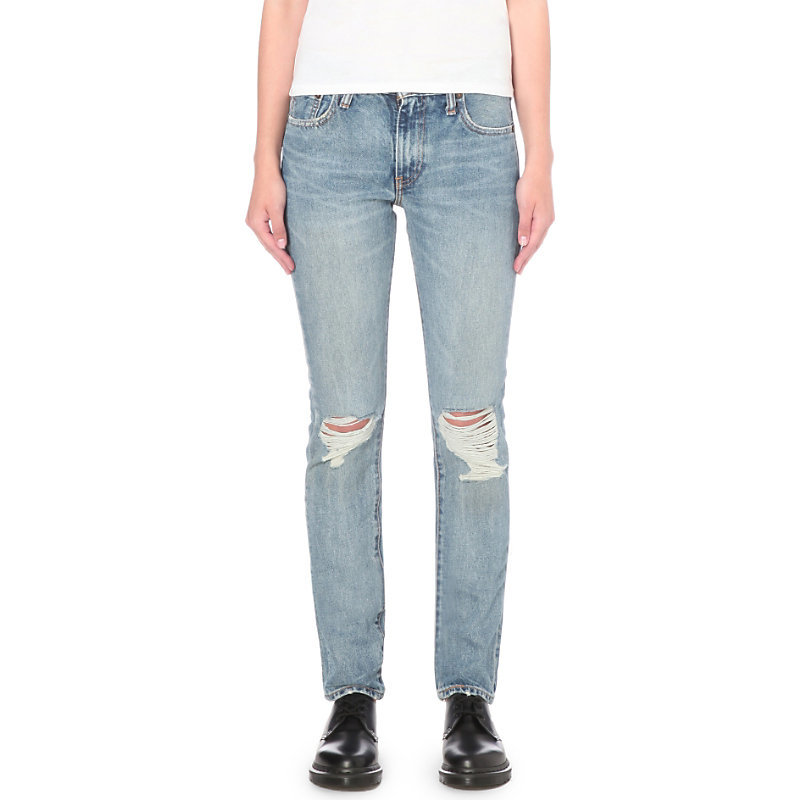 505 C Straight Mid Rise Jeans, Women's, Joey - style: skinny leg; length: standard; pattern: plain; pocket detail: traditional 5 pocket; waist: mid/regular rise; predominant colour: pale blue; occasions: casual; fibres: cotton - stretch; jeans detail: whiskering, shading down centre of thigh, rips; texture group: denim; pattern type: fabric; season: s/s 2016; wardrobe: basic