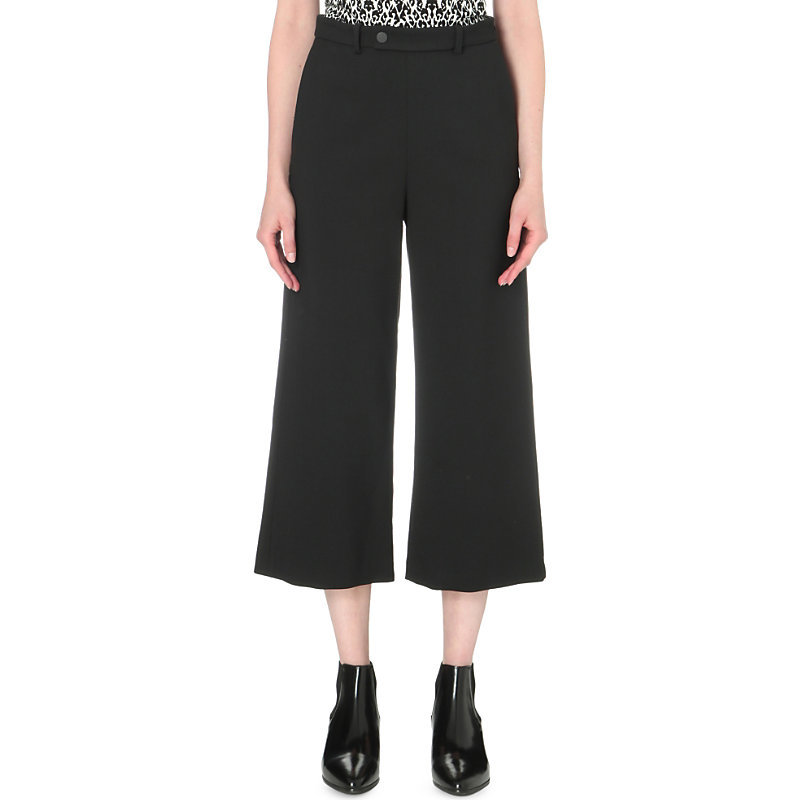 Pigalle Cropped Wide Leg Stretch Crepe Trousers, Women's, Black - pattern: plain; waist: high rise; predominant colour: black; length: calf length; fibres: viscose/rayon - stretch; fit: wide leg; pattern type: fabric; texture group: woven light midweight; style: standard; occasions: creative work; season: s/s 2016; wardrobe: basic