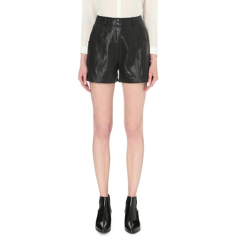 Isaac High Rise Leather Shorts, Women's, Black - pattern: plain; waist: high rise; predominant colour: black; occasions: evening; fibres: leather - 100%; texture group: leather; pattern type: fabric; season: s/s 2016; style: shorts; length: short shorts; fit: skinny/tight leg; wardrobe: event