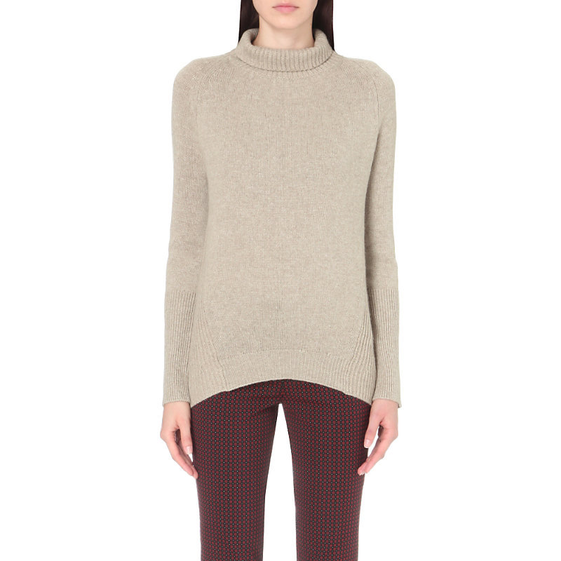Turtleneck Wool And Cashmere Blend Jumper, Women's, Brown - pattern: plain; length: below the bottom; neckline: roll neck; style: standard; predominant colour: stone; occasions: casual; fibres: wool - mix; fit: slim fit; sleeve length: long sleeve; sleeve style: standard; texture group: knits/crochet; pattern type: knitted - fine stitch; season: s/s 2016