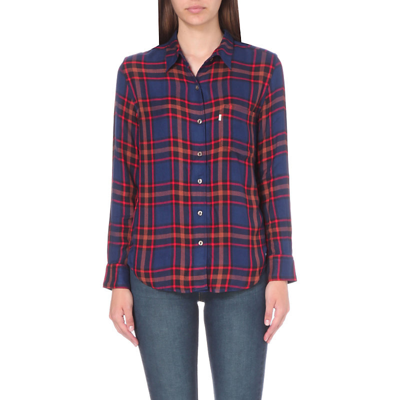 Sidney Flannel Shirt, Women's, Size: Small, Paprika Original Plaid - neckline: shirt collar/peter pan/zip with opening; pattern: checked/gingham; style: shirt; secondary colour: royal blue; predominant colour: bright orange; occasions: casual; length: standard; fibres: viscose/rayon - 100%; fit: body skimming; sleeve length: long sleeve; sleeve style: standard; pattern type: fabric; texture group: jersey - stretchy/drapey; pattern size: big & busy (top); season: s/s 2016; wardrobe: highlight
