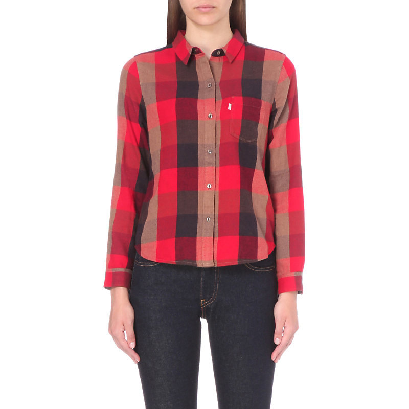 Faye Flannel Shirt, Women's, Size: Small, Sumac Tango Red Plaid - neckline: shirt collar/peter pan/zip with opening; pattern: checked/gingham; style: shirt; predominant colour: true red; secondary colour: black; occasions: casual; length: standard; fibres: cotton - 100%; fit: straight cut; sleeve length: long sleeve; sleeve style: standard; texture group: cotton feel fabrics; pattern type: fabric; pattern size: standard; multicoloured: multicoloured; season: s/s 2016; wardrobe: highlight