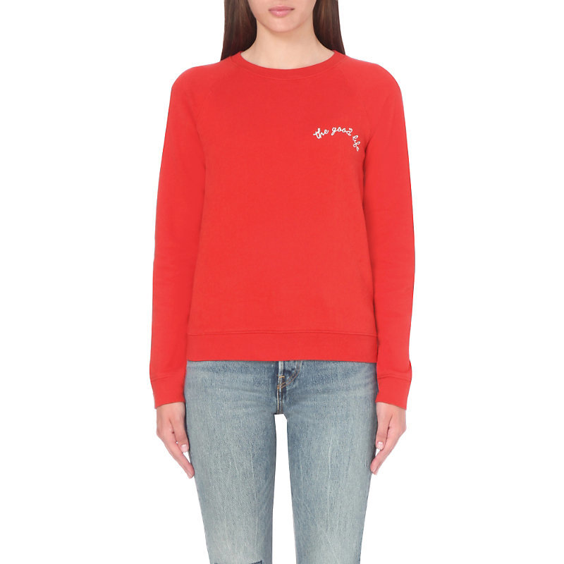 The Good Life Cotton Jersey Sweatshirt, Women's, Size: Medium, Cherry Bomb - style: sweat top; secondary colour: white; predominant colour: true red; occasions: casual; length: standard; fibres: cotton - 100%; fit: straight cut; neckline: crew; sleeve length: long sleeve; sleeve style: standard; pattern type: fabric; pattern size: standard; texture group: jersey - stretchy/drapey; pattern: graphic/slogan; season: s/s 2016; wardrobe: highlight