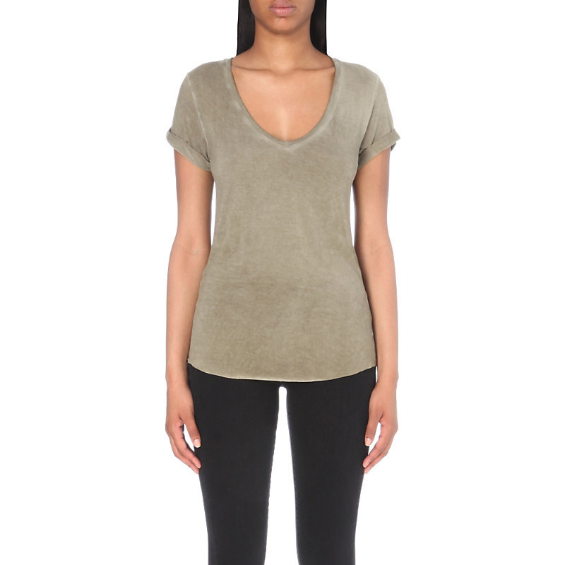 Charlie Jersey T Shirt, Women's, Size: Large, Vintage Desert Olive - neckline: v-neck; pattern: plain; style: t-shirt; predominant colour: khaki; occasions: casual; length: standard; fibres: viscose/rayon - stretch; fit: body skimming; sleeve length: short sleeve; sleeve style: standard; pattern type: fabric; texture group: jersey - stretchy/drapey; season: s/s 2016; wardrobe: basic