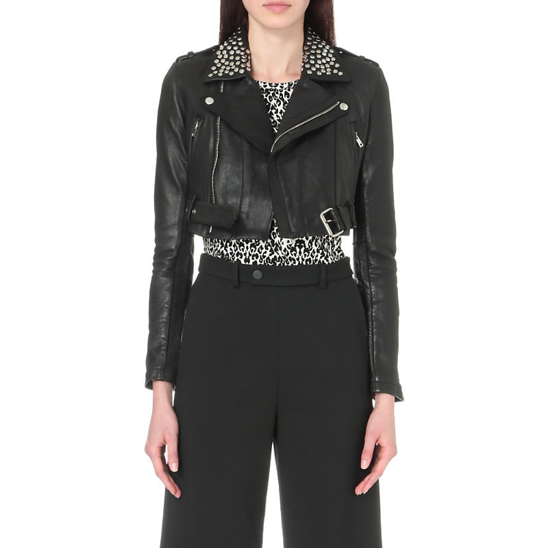 Bloodya Leather Jacket With Studs, Women's, Black - pattern: plain; style: biker; collar: asymmetric biker; fit: slim fit; predominant colour: black; occasions: casual, creative work; fibres: leather - 100%; sleeve length: long sleeve; sleeve style: standard; texture group: leather; collar break: high/illusion of break when open; pattern type: fabric; length: cropped; season: s/s 2016; wardrobe: basic