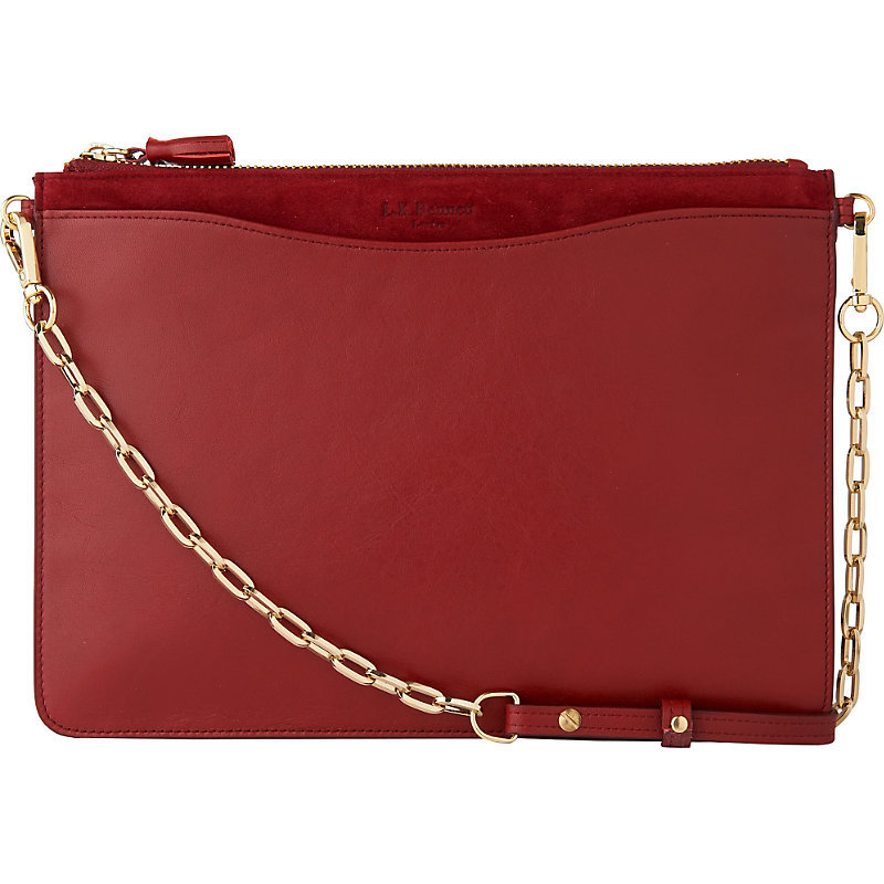 Rachel Leather Pouch, Women's, Bro Rust - occasions: casual, creative work; type of pattern: standard; style: shoulder; length: shoulder (tucks under arm); size: standard; material: leather; pattern: plain; finish: plain; predominant colour: raspberry; season: s/s 2016; wardrobe: highlight