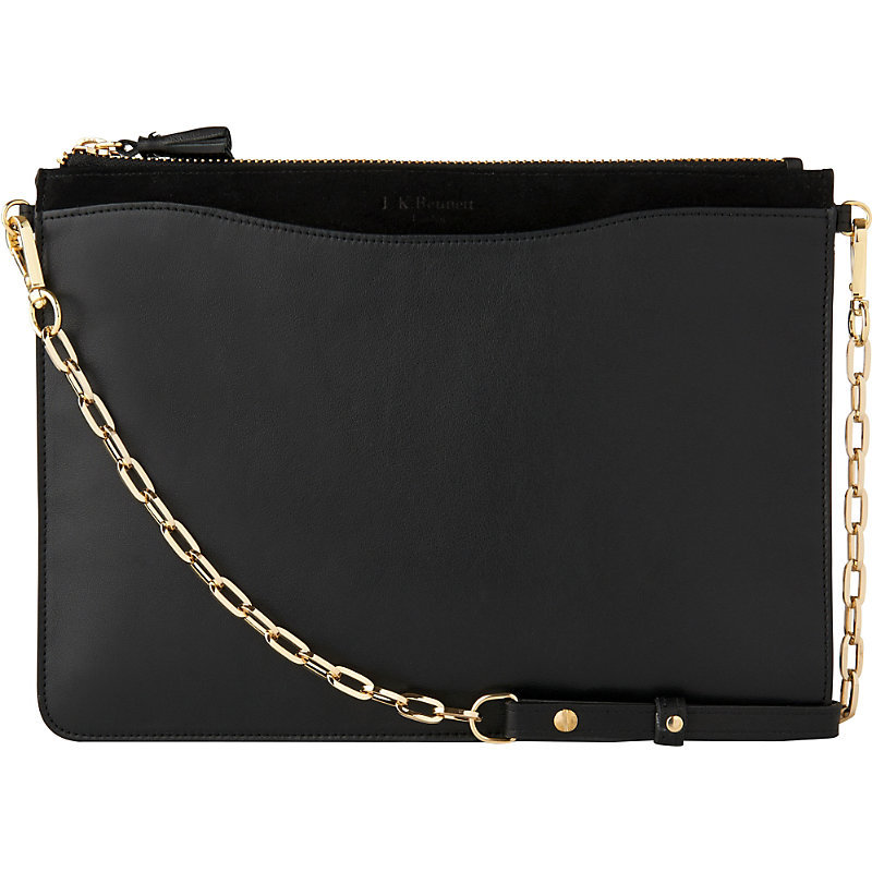 Rachel Leather Pouch, Women's, Bla Black - predominant colour: black; occasions: casual, creative work; type of pattern: standard; style: shoulder; length: shoulder (tucks under arm); size: standard; material: leather; pattern: plain; finish: plain; embellishment: chain/metal; season: s/s 2016; wardrobe: investment