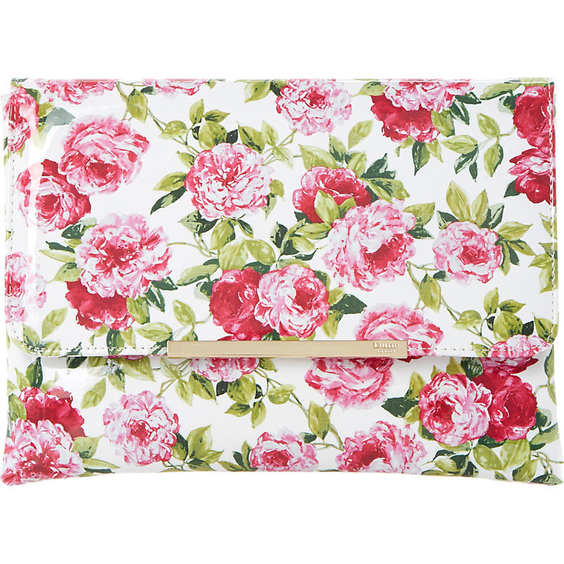 Floral Print Fold Over Clutch, Women's, White - predominant colour: pink; occasions: evening, occasion; type of pattern: heavy; style: clutch; length: hand carry; size: standard; material: faux leather; pattern: florals; finish: plain; season: s/s 2016