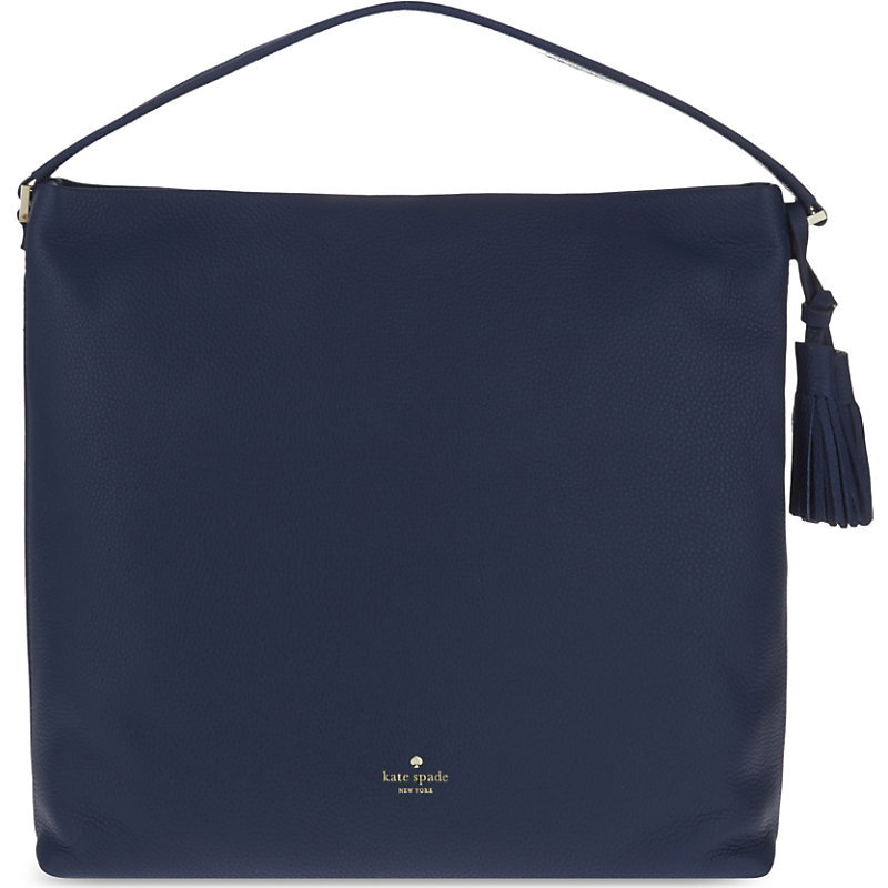 Orchard Street Natalya Leather Shoulder Bag, Women's, Inkwell - predominant colour: navy; occasions: casual, creative work; type of pattern: standard; style: shoulder; length: shoulder (tucks under arm); size: standard; material: leather; embellishment: tassels; pattern: plain; finish: plain; season: s/s 2016