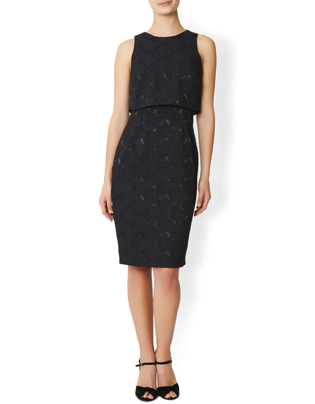 Immy Jacquard Dress - style: shift; fit: tailored/fitted; sleeve style: sleeveless; back detail: back revealing; predominant colour: black; occasions: evening, occasion; length: on the knee; fibres: polyester/polyamide - 100%; neckline: crew; sleeve length: sleeveless; pattern type: fabric; pattern size: light/subtle; pattern: florals; texture group: brocade/jacquard; season: s/s 2016; wardrobe: event