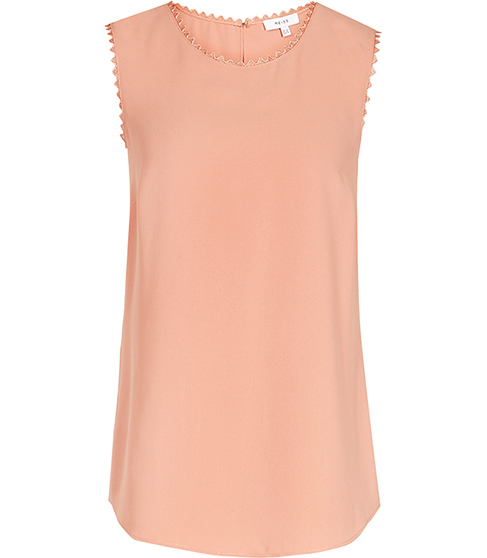 Acorn Lace Trimmed Tank Top - pattern: plain; sleeve style: sleeveless; style: vest top; predominant colour: blush; occasions: casual; length: standard; fibres: polyester/polyamide - 100%; fit: body skimming; neckline: crew; sleeve length: sleeveless; texture group: sheer fabrics/chiffon/organza etc.; pattern type: fabric; season: s/s 2016; wardrobe: basic