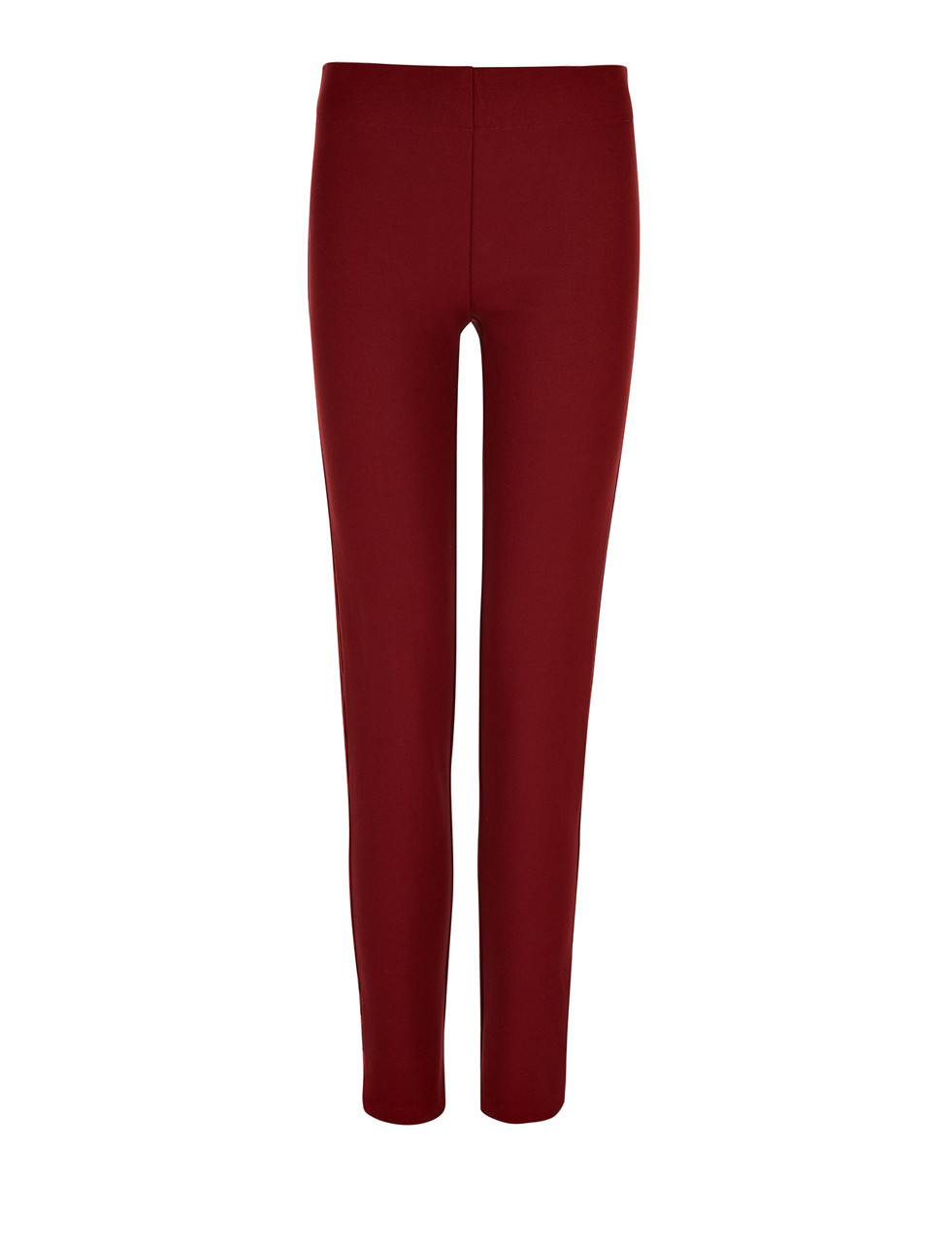 Gabardine Stretch Legging In Oxblood - length: standard; pattern: plain; waist: mid/regular rise; predominant colour: burgundy; occasions: casual, creative work; fibres: viscose/rayon - stretch; fit: slim leg; pattern type: fabric; texture group: woven light midweight; style: standard; season: s/s 2016; wardrobe: highlight