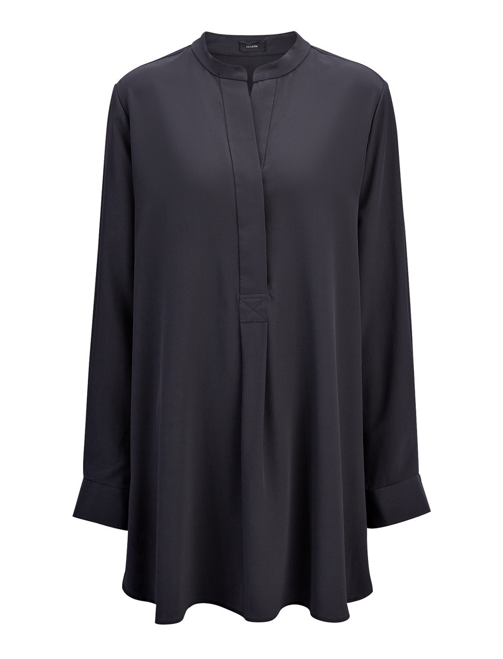 Crepe De Chine Dara Blouse In Midnight Blue - pattern: plain; length: below the bottom; style: blouse; predominant colour: navy; occasions: evening; neckline: collarstand & mandarin with v-neck; fibres: silk - 100%; fit: body skimming; sleeve length: long sleeve; sleeve style: standard; texture group: crepes; pattern type: fabric; season: s/s 2016; wardrobe: event