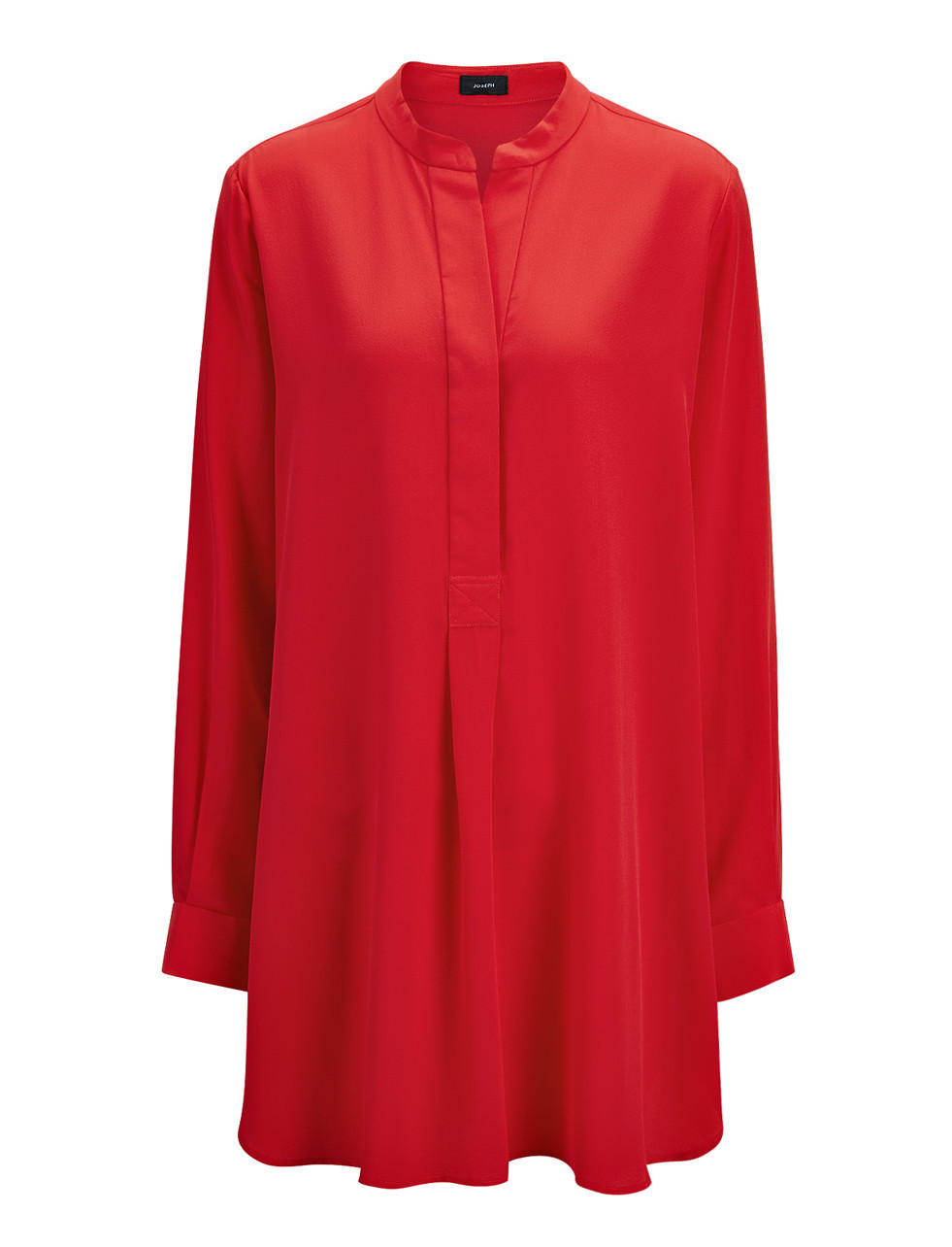 Crepe De Chine Dara Blouse In Red - pattern: plain; length: below the bottom; style: blouse; predominant colour: true red; occasions: evening; neckline: collarstand & mandarin with v-neck; fibres: silk - 100%; fit: loose; sleeve length: long sleeve; sleeve style: standard; texture group: crepes; pattern type: fabric; season: s/s 2016
