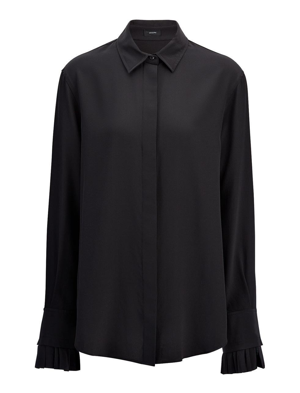 Crepe De Chine Riko Blouse In Black - neckline: shirt collar/peter pan/zip with opening; pattern: plain; style: shirt; predominant colour: black; occasions: evening; length: standard; fibres: silk - 100%; fit: body skimming; sleeve length: long sleeve; sleeve style: standard; texture group: crepes; pattern type: fabric; season: s/s 2016