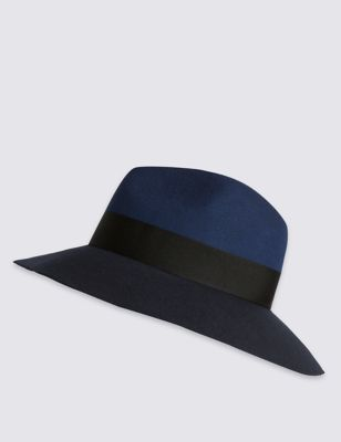 Pure Wool Block Colour Fed Hat - secondary colour: royal blue; predominant colour: navy; occasions: casual; type of pattern: light; style: fedora; size: standard; material: felt; pattern: colourblock; season: s/s 2016; wardrobe: highlight
