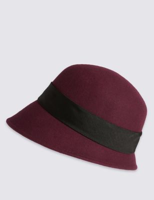 Pure Wool Cloche Hat - predominant colour: burgundy; secondary colour: black; occasions: casual; type of pattern: standard; style: cloche; size: standard; material: felt; pattern: plain; season: s/s 2016; wardrobe: highlight