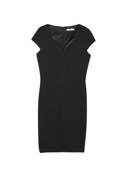 Fitted Textured Dress - neckline: v-neck; sleeve style: capped; fit: tight; pattern: plain; style: bodycon; predominant colour: black; occasions: evening; length: just above the knee; fibres: cotton - stretch; sleeve length: short sleeve; texture group: jersey - clingy; pattern type: fabric; season: s/s 2016
