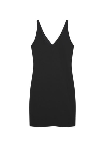 Fitted Textured Dress - length: mid thigh; neckline: v-neck; fit: tight; pattern: plain; sleeve style: sleeveless; style: bodycon; predominant colour: black; occasions: evening; fibres: polyester/polyamide - stretch; sleeve length: sleeveless; texture group: jersey - clingy; pattern type: fabric; season: s/s 2016; wardrobe: event