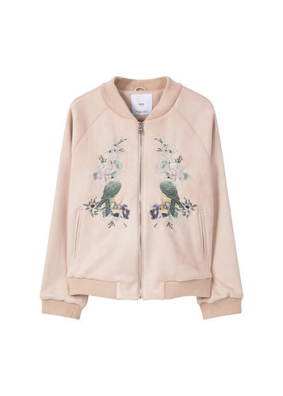 Embroidered Bomber - collar: round collar/collarless; fit: slim fit; style: bomber; predominant colour: blush; occasions: casual; length: standard; fibres: polyester/polyamide - stretch; sleeve length: long sleeve; sleeve style: standard; collar break: high; pattern type: fabric; pattern: patterned/print; texture group: woven light midweight; embellishment: embroidered; season: s/s 2016; wardrobe: highlight
