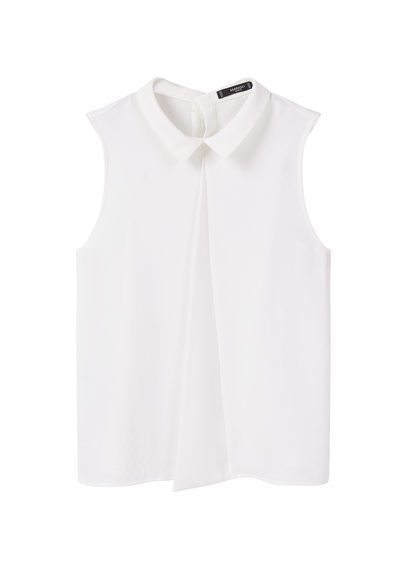 Flowy Top - pattern: plain; sleeve style: sleeveless; style: blouse; predominant colour: white; occasions: casual; length: standard; fibres: polyester/polyamide - 100%; fit: body skimming; neckline: no opening/shirt collar/peter pan; sleeve length: sleeveless; texture group: cotton feel fabrics; pattern type: fabric; season: s/s 2016; wardrobe: basic